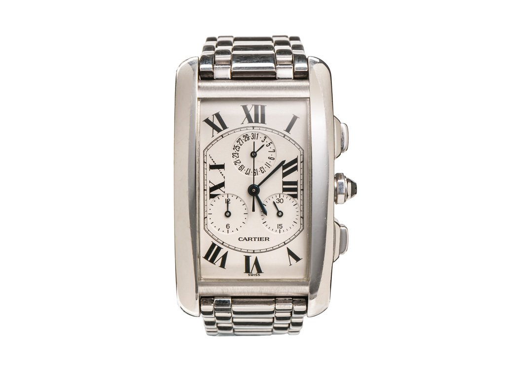 preowned cartier tank am ricaine chronograph. Black Bedroom Furniture Sets. Home Design Ideas